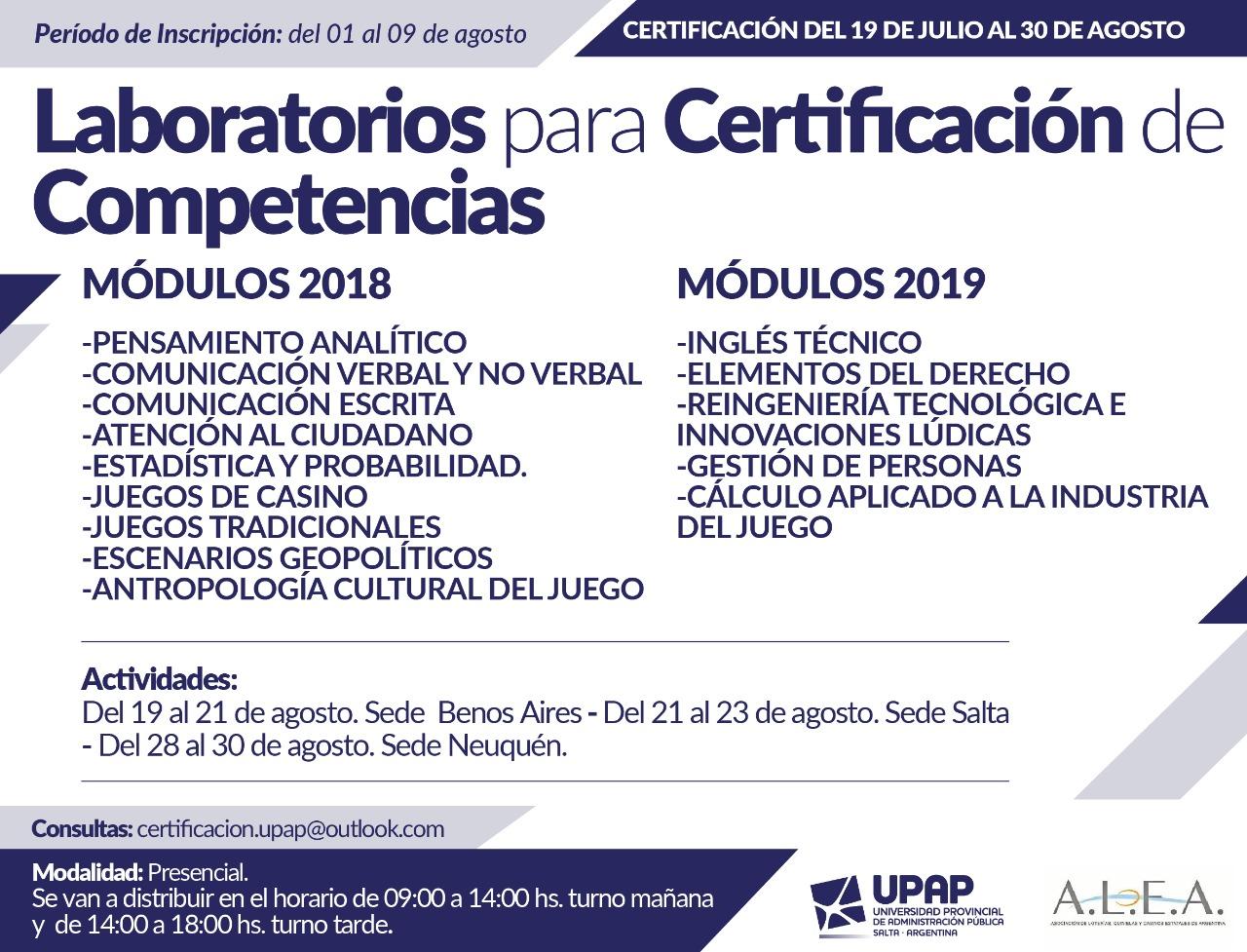 Tecnicatura ALEA- UPAP: encuentros presenciales y certificaciones en Salta, Buenos Aires y Neuquén 2019