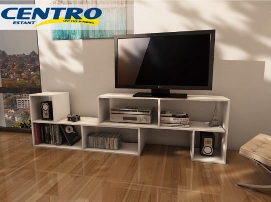 Rack TV 2 Módulos Centro Estant 120x58x30cm Blanco Melamina múltiples configuraciones 6000