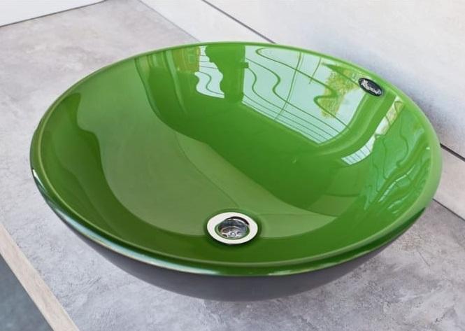Bacha de apoyar Redonda Verde Manzana Bizantina 37x37cm 271VM