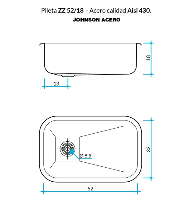 Pileta Simple ZZ52/18 Johnson 52x32x18cm