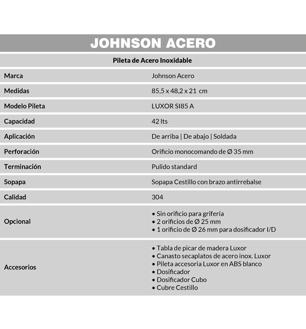 Combo Pileta Simple Luxor SI85 Johnson Dosificador, Tabla, Secaplatos