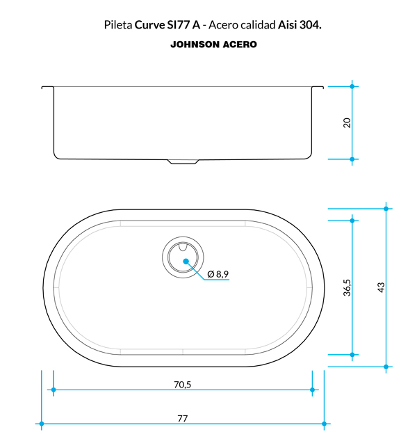 Combo Pileta Simple Curve SI77 Johnson, Escurreplatos, Tabla templado