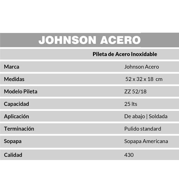 Combo Pileta Simple ZZ52/18 Johnson + Grifería Renacer Peirano 20-102