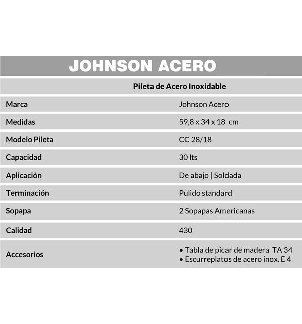 Combo Pileta Doble CC28/18 Johnson + Grifería Betis Peirano 20-134