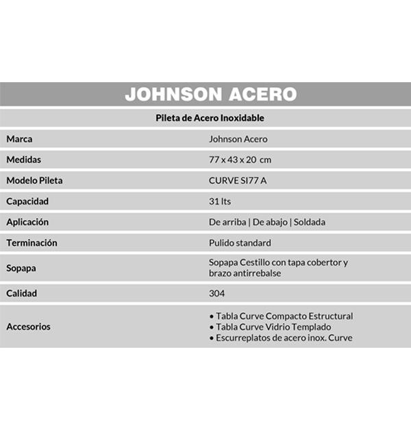 Combo Pileta Simple Curve SI77 Johnson, Escurreplatos, Tabla de picar