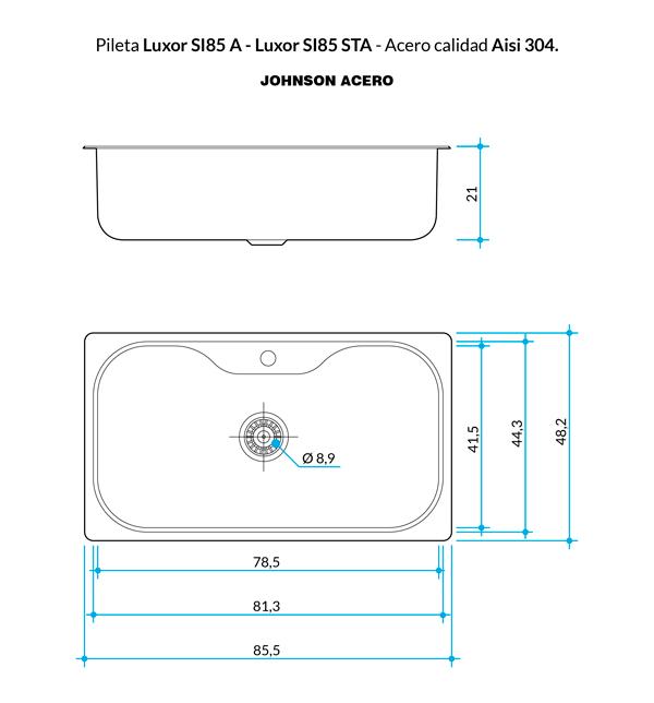 Combo Pileta Simple Luxor SI85 Johnson con Dosificador, Tabla