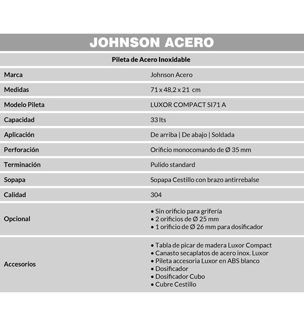 Combo Pileta Simple Luxor SI71 Johnson con Dosificador, Tabla, Secaplatos