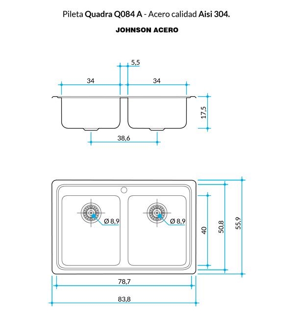 Combo Pileta Doble Q084 A Johnson Con Orificio + Dosificador DE REGALO