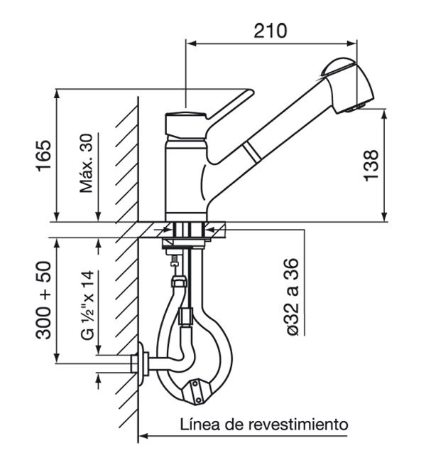 Griferia Cocina Monocomando Swing FV 0412.01/90