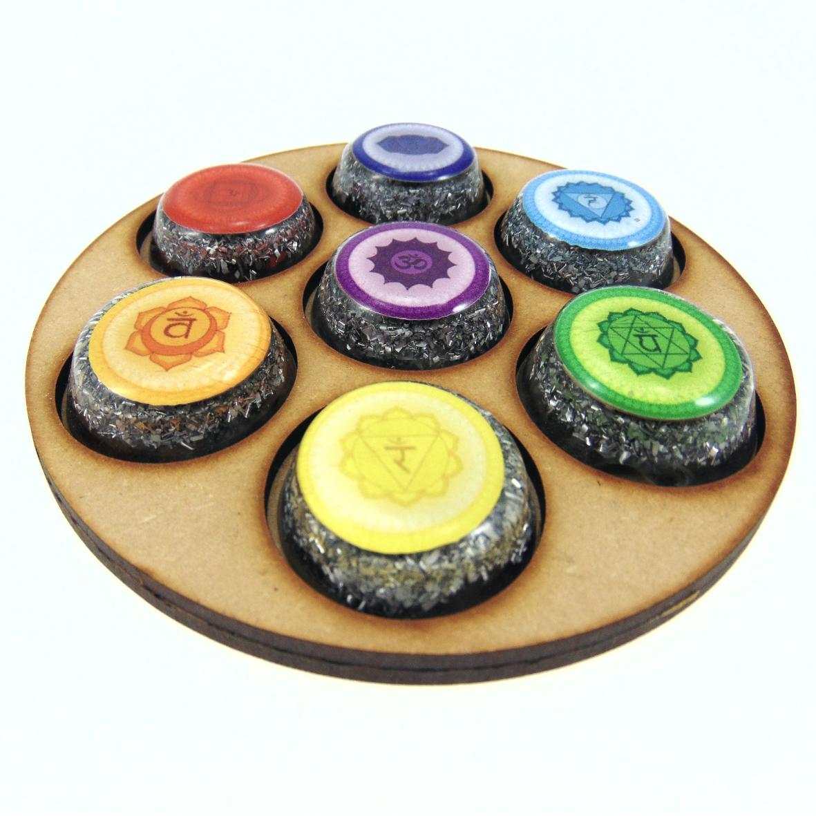 Porta set de chakras con simbología Circular en MDF