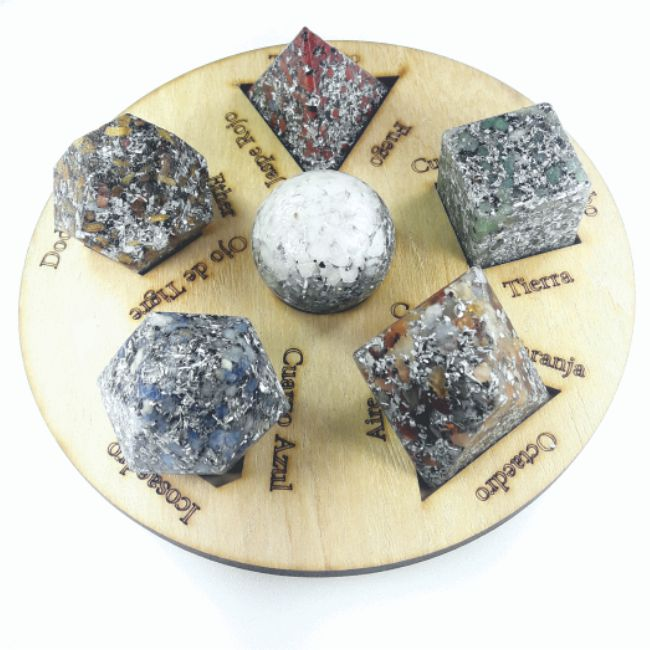 Set Completo Sólidos Platónicos Y Esfera Con Bandeja